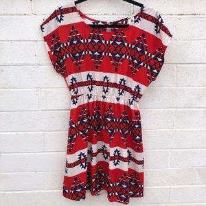 Needle & Thread M Aztec Print Short Sleeve Dress